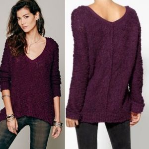 Free People Songbird Boulce V Neck Sweater Sz L